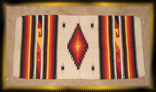 Southwestern Decor Log Cabin Rug Cream-Yellow-Red