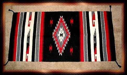 Southwestern Decor Log Cabin Rug Black-Red-Gray-White