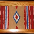Southwestern Decor Log Cabin Rug Tan- Terra Cotta -Blue