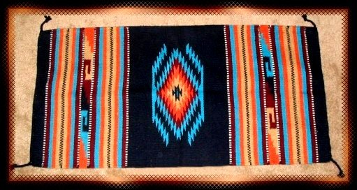 Southwestern Decor Log Cabin Rug Navy-Turquoise-Tan