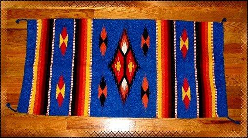 Southwestern Decor Log Cabin Rug Blue-Yellow-Orange