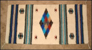 Southwestern Decor Log Cabin Rug Cream-Turquoise-Blk