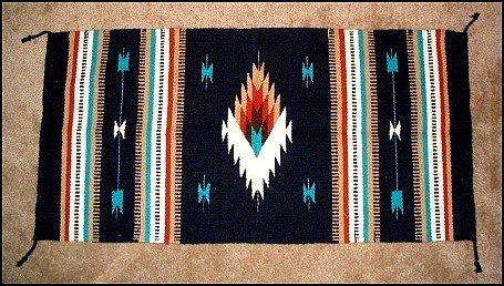 Southwest Design Log Cabin Decor Rug Navy-Turquoise-Tan