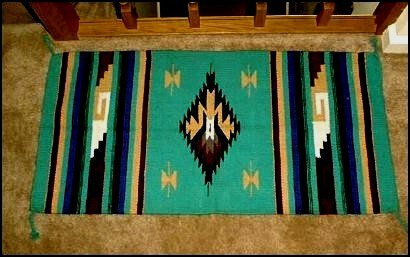 Southwestern Decor Log Cabin Rug TEAL-BURGUNDY-TAN