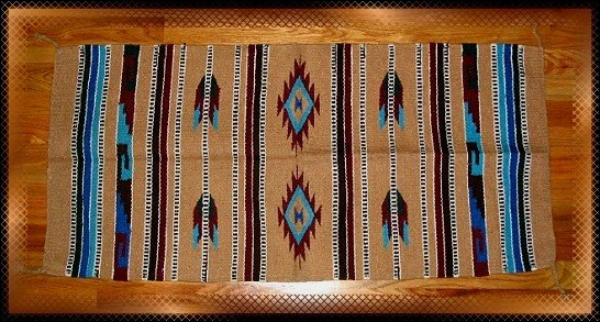 Southwestern Decor Log Cabin Rug Tan-Turquoise-Burgundy