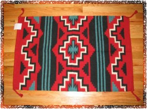 SouthWestern Log Home Decor Wool Rug Red-Turquoise-Blk