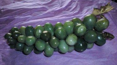VINTAGE GREEN QUARTZ SEMI PRECIOUS STONE GRAPE BUNCH BRASS LEAVES!