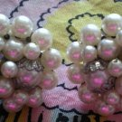 VINTAGE PEARL, RHINESTONE CLIP ON EARRINGS! MADE IN JAPAN!