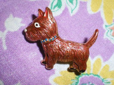 FABULOUS VINTAGE COPPER RED SCOTTY DOG PIN!