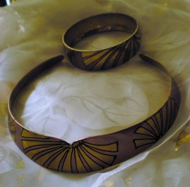Vintage Brass Choker and Bracelet! Made in India!