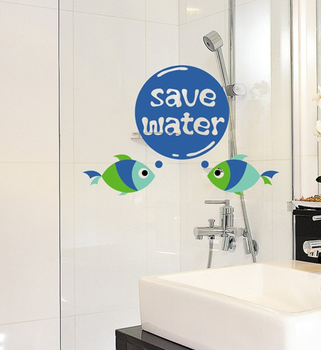 Save Water Fish Words Bathroom Kitchen Diy Wall Art Vinyl Decals Stickers Decor Fun Unique Fg 5