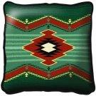 "~Set of 2~ 17"" TARAK Green Western Southwest Design Tapestry Cushion Pillows"