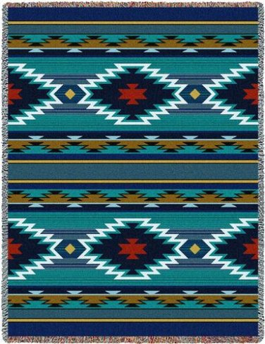 70x53 Balpinar Blue Southwest Design Tapestry Afghan Throw