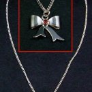 Silver Tone Necklace with Ribbon Pendant