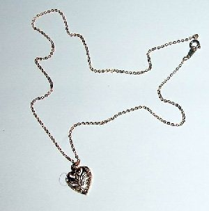 14KT Gold Tone Heart Shaped Fillagree Necklace Wholesale case of 144
