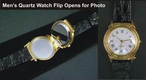 Classic Men's Picture Frame Watch Genuine Leather Band wholesale case of 24