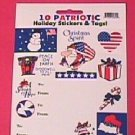 10 pack patriotic holiday stickers (wholesale lot of 250 packs)