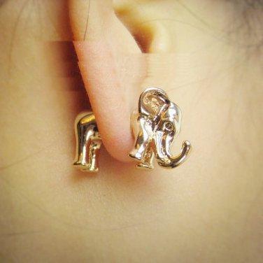 Pair 3D Elephant Stud Fake Gauge Earrings - Cool Rock Punk Metal Korean Style