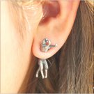 Pair 3D Long Tail Running Leopard Cat Stud Fake Gauge Earrings - Cool Rock Punk Metal Korean Style