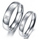 "Set of Stainless Steel Engraved ""You are perfect in my mind"" Couple Promise Ring"
