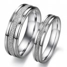 Set of Stainless Steel Sand Finish Couple Promise Wedding Rings Band