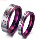 "Set of Stainless Steel Purple ""Love Token"" Couple Promise Rings Band"
