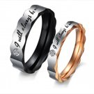 """Set of Stainless Steel """"I Will Always Be With You"""" Couple Wedding Rings Band"""