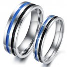 Set of Stainless Steel Double Band Couple Wedding & Engagement Rings Band