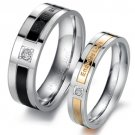 Set of Stainless Steel CZ Crystal Inlay Couple Wedding Rings Band