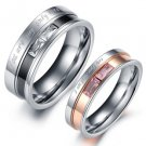 Set of Stainless Steel Double Striped <you are my only love> Couple Ring