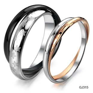 Set of Stainless Steel Double Twisted Couple Wedding Rings Band