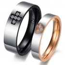 Set of Stainless Steel Gold & Black Tone Crystal Heart Cross Couple Rings Band