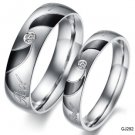 Set of Stainless Steel CZ Crystal Center Swirl Lover Promise Rings Band