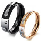 "Set of Stainless Steel Cross ""Pure Love"" Couple Promise Rings Band"
