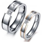 Set of 2-Tone Stainless Steel <MY LOVE> Couple Wedding Rings Band
