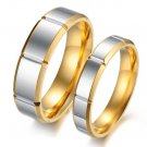 Set of Retro Groove Gold Edge Titanium Stainless Steel Couple Ring Band