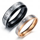 "Set of 2-Tone Stainless Steel ""YOU ARE PERFECT IN MY MIND"" Couple Rings Band"