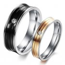 Set of Titanium Stainless Steel Couple Grooved Wedding Lover Band Rings