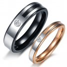 Set of Titanium Stainless Steel Couple 2-Tone Stripe Center Lover Band Ring