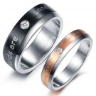 "Set of ""Words are unnecessary"" Wedding Band Titanium Stainless Steel Couple Ring"