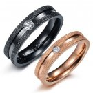 Set of Dull Polish CZ Stainless Steel Couples Wedding Band Rings