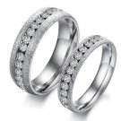 Set of Couple Silver Frost CZ Stainless Steel Wedding Band Rings