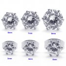 Set of 6 Pairs Surgical Stainless Steel Clear CZ Stud Earrings Mens/Lady's