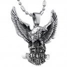 316L Titanium Stainless Steel Flying Eagle Dog Tag Pendant Necklace