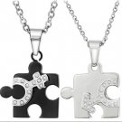 Set of Puzzle Jigsaw Sexual Black & White Sign Stainless Steel Couple Necklace