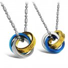 Set of Stainless Steel Blue Interlocking Rings Love Couple Pendant Necklace