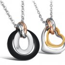 Set of Tri-Color Ring & Heart Stainless Steel Lover Couple Necklaces
