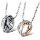 Set of Double Twisted Rings with Love Titanium Stainless Steel Couple Necklace