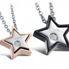Set of Couple Matching Stars Titanium Stainless Steel Lover Necklaces
