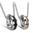 "Set of Titanium Steel Black & Gold Rings ""ETERNAL LOVE"" Couple Lover Necklace"